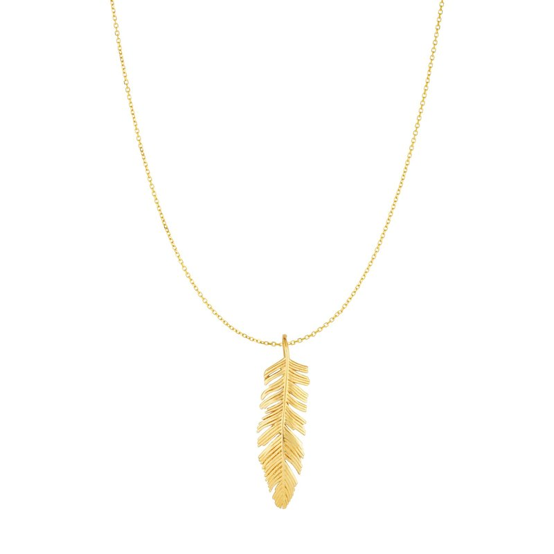 Royal Chain 10K Gold Feather Necklace
