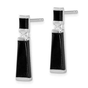 Sterling Silver Onyx Tapered Drop Earrings