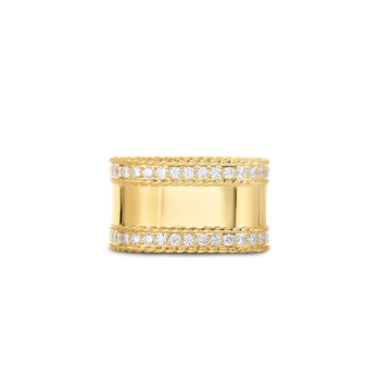 18Kt Gold Ring With Diamond Edges