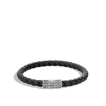Classic Chain 5.5MM Station Bracelet in Silver and Leather