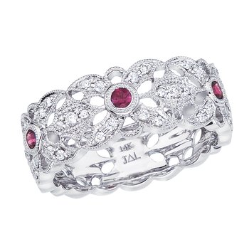 14k White Gold Ruby and Diamond Filigree Ring