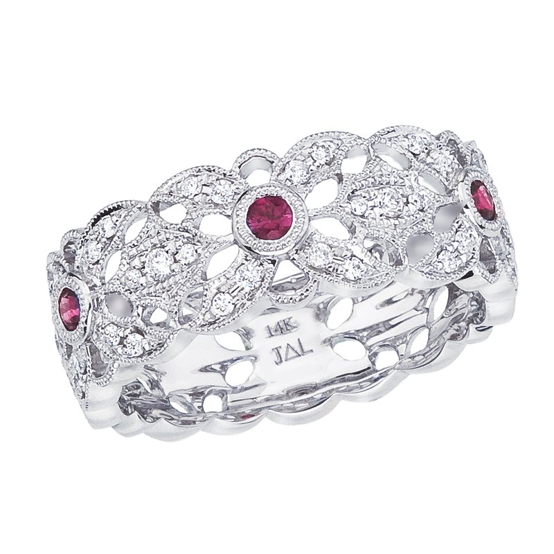 Color Merchants 14k White Gold Ruby and Diamond Filigree Ring