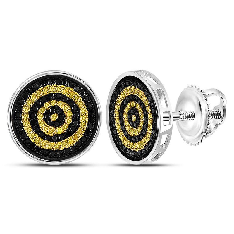 Kingdom Treasures Sterling Silver Mens Round Yellow Black Color Enhanced Diamond Circle Stud Earrings 1/2 Cttw