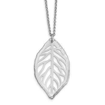 Sterling Silver Rhodium-plated Satin Cut-out Leaf Necklace