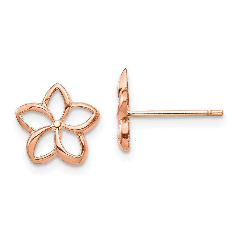 Quality Gold 14K Rose Polished Plumeria Cutout Post Earrings