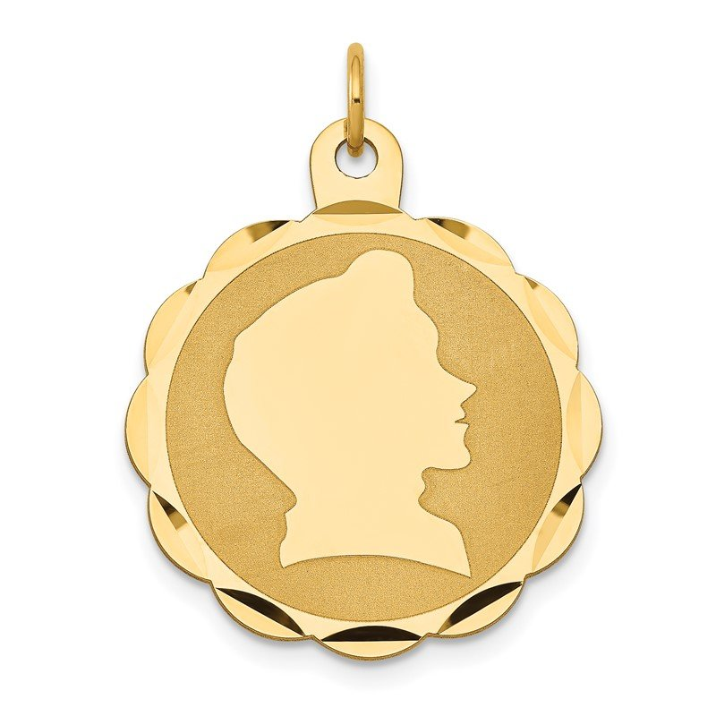 Quality Gold 14k Boy Head on .011 Gauge Engravable Scalloped Disc Charm