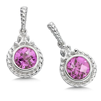 Sterling Silver and Created Pink Sapphire Earrings