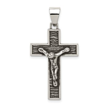 Sterling Silver Antiqued Box Cross Crucifix Pendant