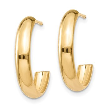 14k Polished 3.5mm J-Hoop Earrings