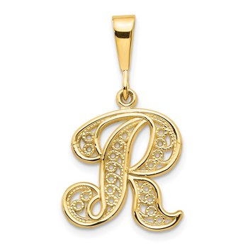 14KY Polished Script Filigree Letter R Initial Pendant