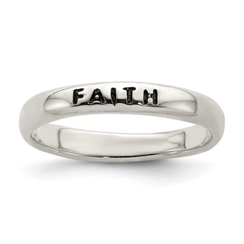 Sterling Silver Antiqued and Polished Faith Ring