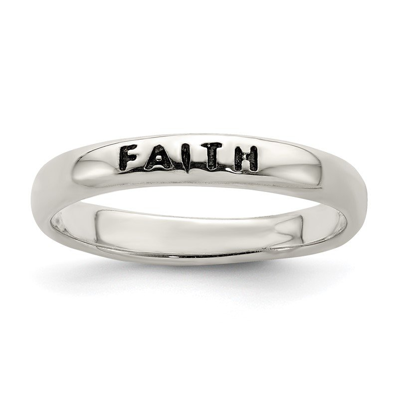 Quality Gold Sterling Silver Antiqued and Polished Faith Ring