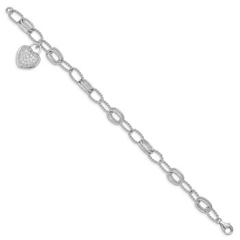 Sterling Silver Rhodium-plated CZ Heart Dangle Bracelet