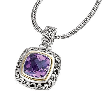 18K/SILVER WITH AMETHYST      CUSHION CUT PEND. AM-15MM