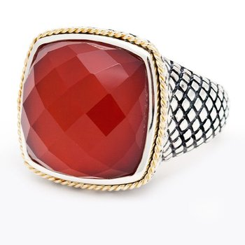 18kt and Sterling Silver Cushion Red Agate Ring