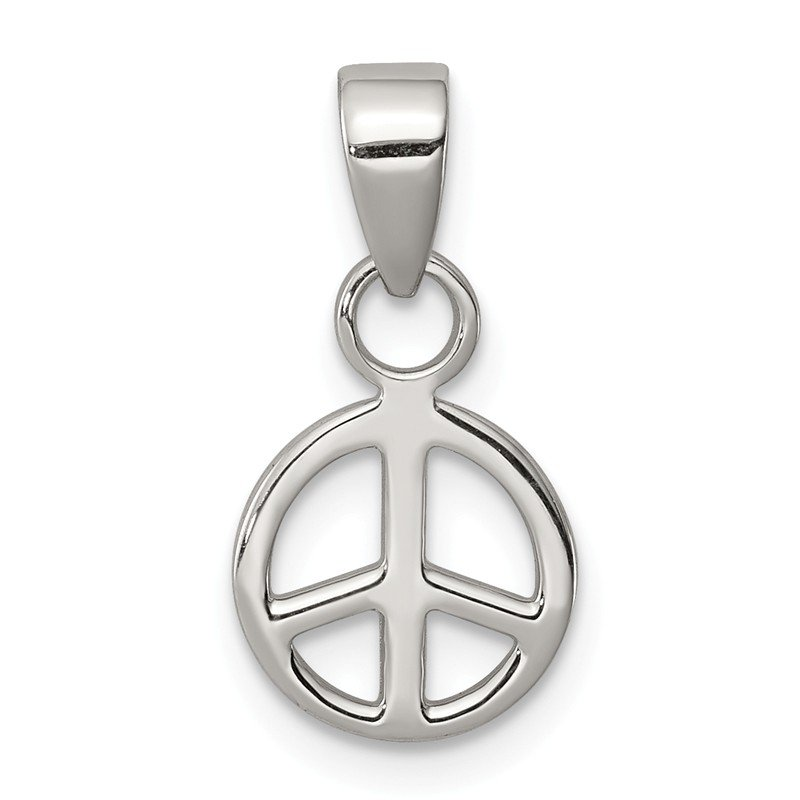 Quality Gold Sterling Silver Small Peace Symbol Pendant