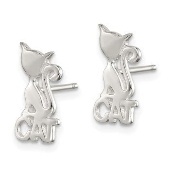 Sterling Silver Polished Cat Post Earrings