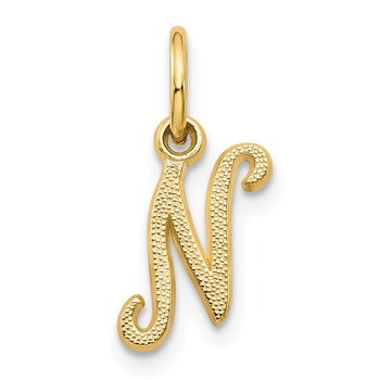 14KY Script Letter N Initial Charm