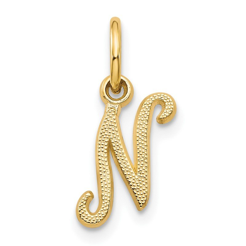 Quality Gold 14KY Script Letter N Initial Charm