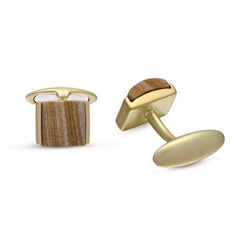 LuvMyJewelry Wood Jasper Stone Cufflinks in Sterling Silver & 14 KT Yellow Gold Plating