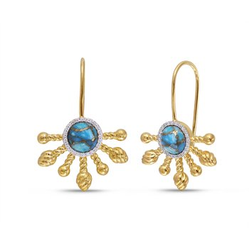 LuvMyJewelry Sun-Day Slide On Turquoise & Diamond Earrings in Sterling Silver & 14 KT Yellow Gold Plating