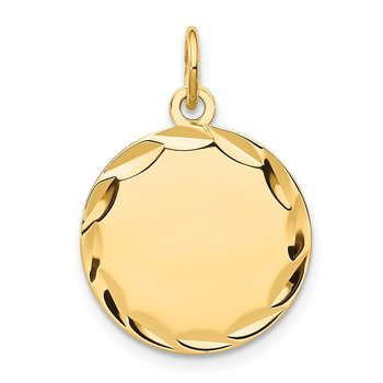 14k Etched .013 Gauge Engravable Round Disc Charm