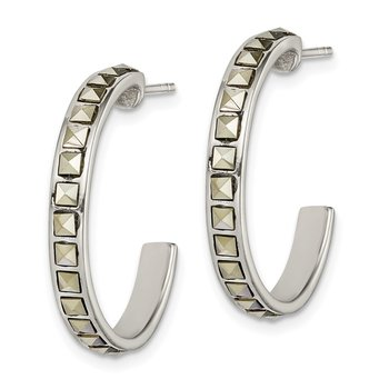 Sterling Silver Square Marcasite 25x3.5 Hoop Post Earrings