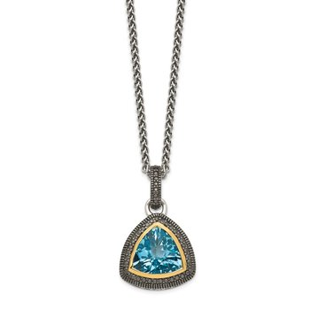 Sterling Silver w/ 14K Accent Light Swiss Blue Topaz Necklace
