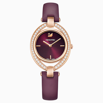 Stella Watch, Leather strap, Dark red, Rose-gold tone PVD