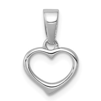 Sterling Silver Rhodium Plated Open Heart Pendant