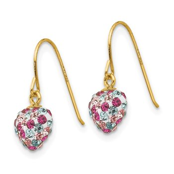 14k Multi-colored Crystal Heart Dangle Earrings
