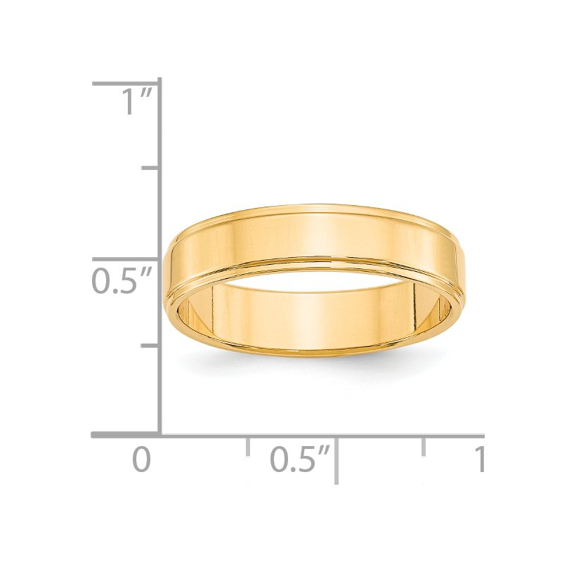 Quality Gold 14KY 5mm Flat with Step Edge Band Size 10