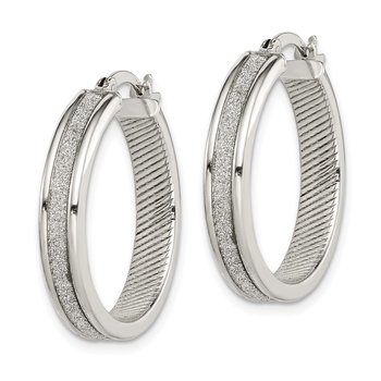 Sterling Silver Glitter Infused Hoop Earrings