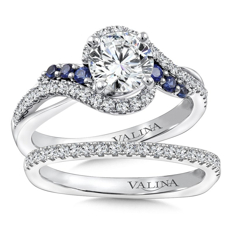 Valina Bridals Diamond & Blue Sapphire Engagement Ring Mounting in 14K White Gold (.29 ct. tw.)