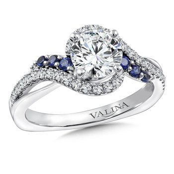 Diamond & Blue Sapphire Engagement Ring Mounting in 14K White Gold (.29 ct. tw.)