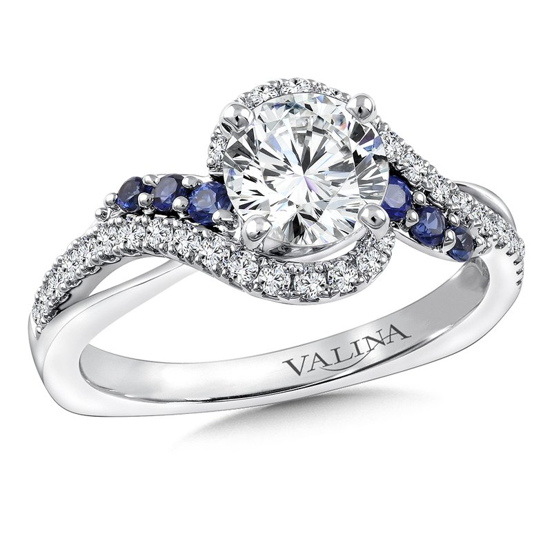 Valina Diamond & Blue Sapphire Engagement Ring Mounting in 14K White Gold (.29 ct. tw.)
