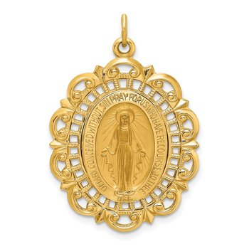 14k Solid Polished/Satin Fancy Pierced Oval Miraculous Medal