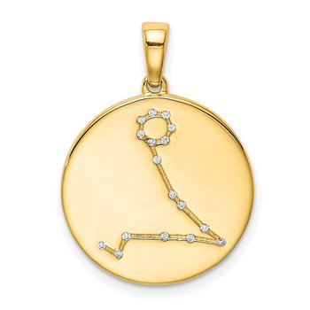 Sterling Silver Gold-plated & CZ Pisces Zodiac Pendant
