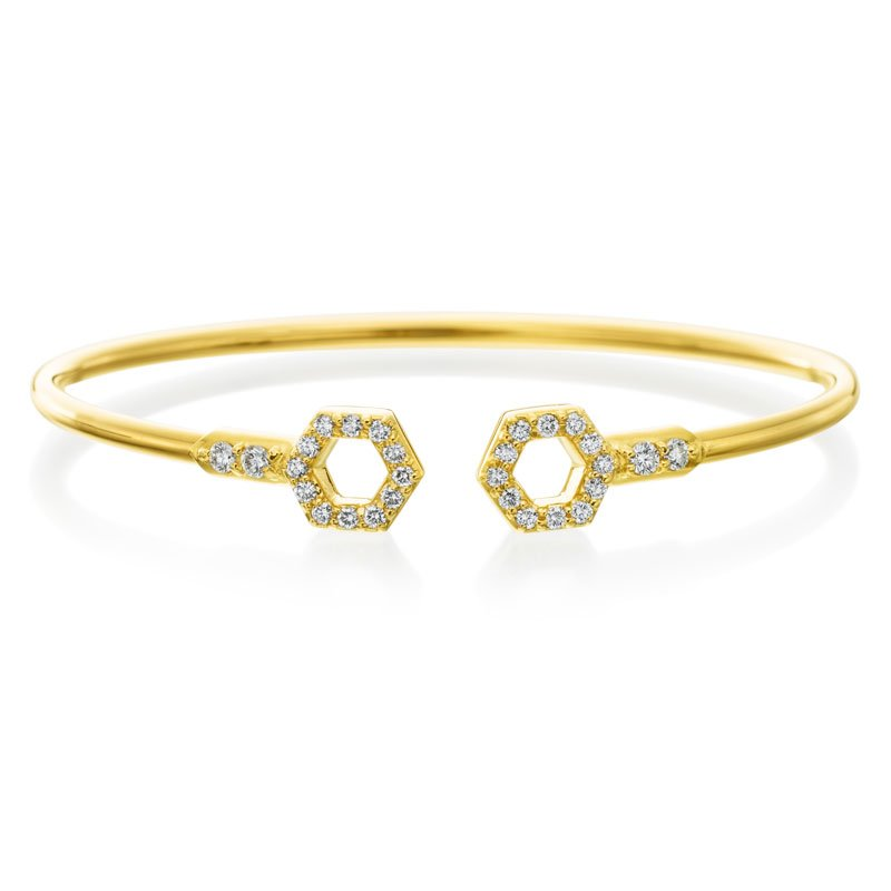 "Gumuchian Honeybee ""B"" Diamond Pavé Flexible Bangle B319G"