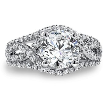 Diamond Engagement Ring Mounting in 14K White Gold with Platinum Head (.84 ct. tw.)