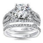 Caro74 Diamond Engagement Ring Mounting in 14K White Gold with Platinum Head (.84 ct. tw.)