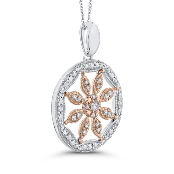 10K Two Tone Gold 1/3 ct White Diamond Flower Pendant with Chain