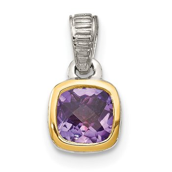 Sterling Silver w/ 14K Accent Amethyst Pendant