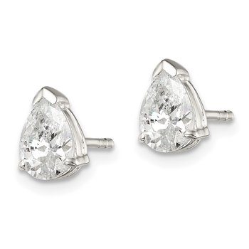 Sterling Silver 6x8mm Pear Basket Set CZ Stud Earrings