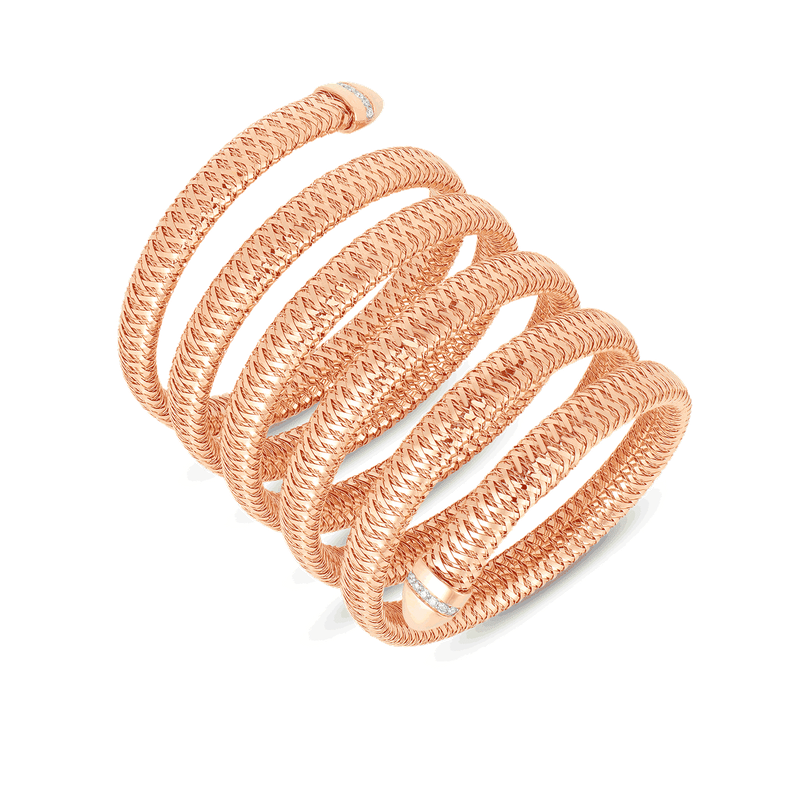 Roberto Coin Flexible Snake Cuff With Diamonds &Ndash; 18K Rose Gold
