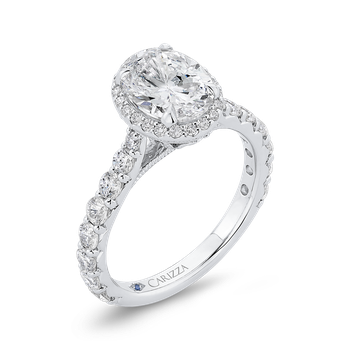 Oval Diamond Halo Engagement Ring In 18K White Gold (Semi-Mount)