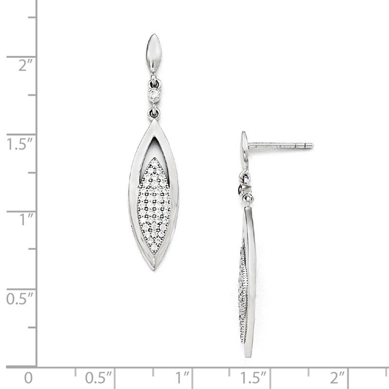 Quality Gold SS Rhodium-Plated CZ Brilliant Embers Dangle Post Earring