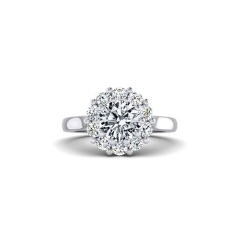 Flowery Design Diamond Halo Engagement Ring