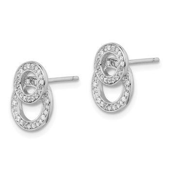 Sterling Silver Rhodium-plated CZ Double Circles Post Earrings