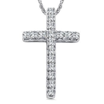 Diamond Cross Pendant in 14K White Gold (0.71 ct. tw.)